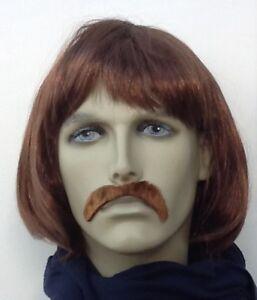 MEN'S BOB STYLE BROWN FANCY DRESS WIG & DROOP MOUSTACHE, SELF ADH.UK DISP