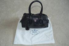 Prada Nero Black Leather Tote Shopper Shoulder Tassel Zip Top Bowler Handbag