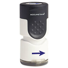 """Accustamp Pre-Inked Round Stamp with Microban Arrow 5/8"""" dia Blue 035654"""