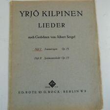 vocal YRJOE KILPINEN Lieder Heft 1 + 2 Sommersegen Op 75 Spielmannslieder Op 77