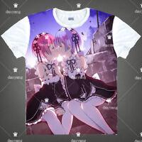 Anime Re:Zero Rem/Ram T-shirt Short Sleeve Unisex TEE Otaku Cosplay S-3XL#4-66