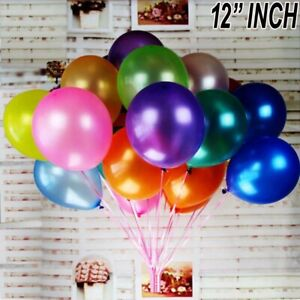 "10/100PCS Latex 12"" PEARL Metallic BALLOONS helium BALOONS Wedding Love decor UK"