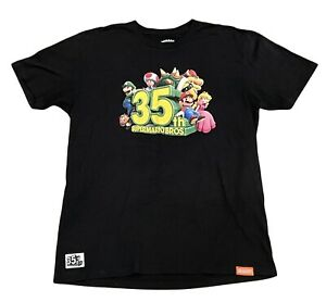 Nintendo Mens Size Large Super Mario Bros 35th Anniversary Black Promo T-Shirt