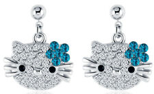 Hello Kitty Cat 18k White Gold Plated Austrian Crystal Stud Blue color Earrings