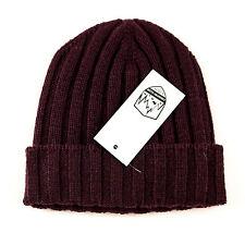 New Men's COUNTRY CLUB Dark Plum 100% Cashmere Knit Beanie Hat Cap 50 M S $195