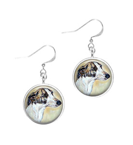 Silver Plated Greyhound Dog Art Cabochon Earrings