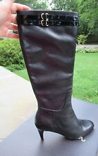 NIB Cole Haan Air Dione Tall Leather Boots/Black/ Side Zipper/ Patent Trim/7.5