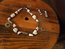 Natural White Stone Carved Metal Pewter Beads Necklace with Matching Earrings