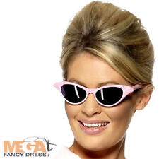 Pink Lady Sunglasses Ladies Fancy Dress 50s Rock n Roll Grease Costume Accessory
