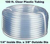 "Clear Plastic Tubing  100' Roll  1/4"" Inside Dia. x 3/8"" Outside Dia  Flexible"