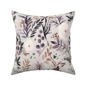 Rose Autumn Flower Brown Throw Pillow Cover w Optional Insert by Spoonflower