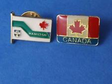 HAMILTON ONTARIO CANADA MAPLE LEAF FLAG PIN BACK 2 LOT VINTAGE SOUVENIR BUTTON