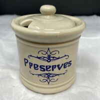 VTG McCoy Pottery Preserves Jam Jar w/ Lid USA #1853 Grey Speckle Blue Print EUC