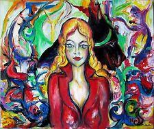 oeuvre tableau KSPERSEE peinture huile abstrait portrait femme signe coté drouot