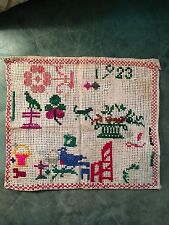 Antique French Embroidery Child's Sampler Provence Dated 1923 Flowers Bird Cross
