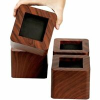 4 Pcs 3 Inch Heavy Duty Wood Grain Bed Risers Furniture Sofa Chair Table Riser