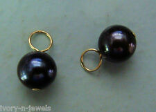 Natural AAA Quality Black Pearl INTERCHANGEABLE Earring Charms SOLID 14K YG