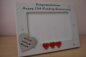 Personalised handmade 25th SILVER WEDDING ANNIVERSARY Photo Frame Gift 6X4