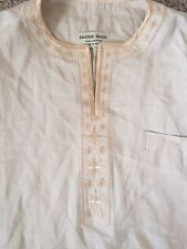 Ekome Moon Tribal African Ghana Shirt Beige Gold All Cotton Short Sleeves RARE