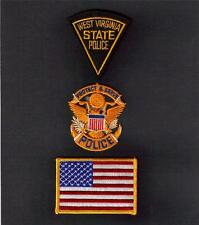 WEST VIRGINIA State POLICE Protect and Serve USA FLAG Sew Iron On PATCH SET 3 Pc