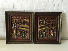 Antique Chinese Qing / Republic Pair of Red Lacquered & Gilt Carved Wood Panels