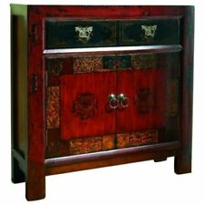 Bowery Hill 2 Door Accent Chest in Red and Gesso with Gold Highlights