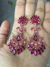 "2.75"" Long Dark Pink Fuchsia Dangle Wedding Rhinestone Crystal Gold Earrings"
