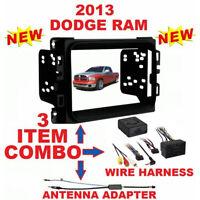 2013 - 2020 RAM DOUBLE DIN CAR STEREO INSTALLATION DASH KIT + HARNESS + ANTENNA