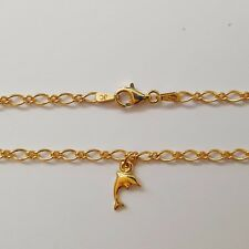 New Solid 9ct Yellow Gold Oval 1.1 Figaro Anklet With A Solid 9ct Dolphin Charm