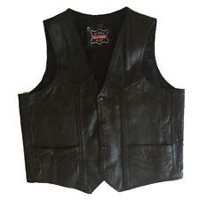 "mens motercycle- bikers leather stuff vest- 45"" Chest V neck Black"