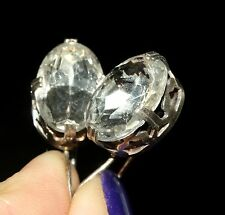 AWESOME ROCK CRYSTAL Shining Earrings Silver Gold plated 875 USSR Antique