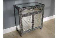 2 Door 1 Drawer Mirrored Storage Cabinet Vintage Silver Chest Embossed Cupboard