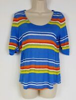 Lauren Ralph Lauren Blue Multi Stripe 100% Linen Scoop Neck Short Sleeve Shirt S