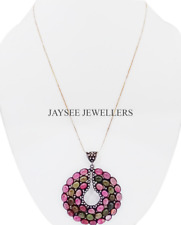 Handcrafted 925 Sterling Silver Tourmaline Gemstone With Pave Diamond Pendant