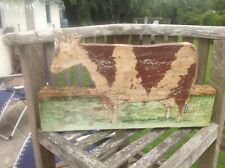FOLK ART WOODEN HAND PAINTED COW ON THICK PINE 475 mm x 280 mm