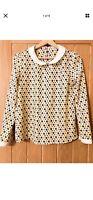 Ladies Women Retro Style Yellow Pattern Blouse Shirt Peter Pan Collar Size 8/10
