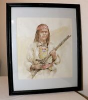 VINTAGE K Fogel Native American hunter Folk Art drawing watercolor painting art
