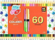 COLLEEN Color Pencil Double End 60 Colors Pack 30 Included 6 Neon Hexagon