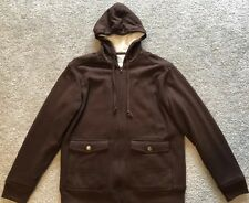 Levi's Men's Brown Sherpa Faux Fur Lined Hooded Jacket Hoodie Large L