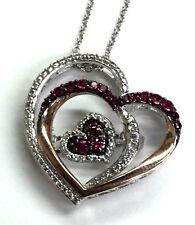"""Elegant Silver 925 Two Tone Pink Ruby - CZ Pave Double Love Heart Necklace 18"""""""