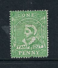 """Victoria 1884 - 1d """"Stamp Duty"""" Yellow-Green - Perf 12 - SC AR13 [SG 253a] USED"""