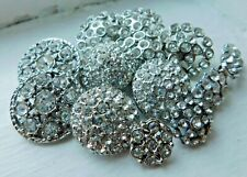 Vintage collectible rhinestone button lot~silvertone~clear~#36