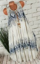 NEU ITALY SOMMER STRAND A-LINIE MAXI TUNIKA KLEID PAISLEY MUSTER BEIGE 40-44