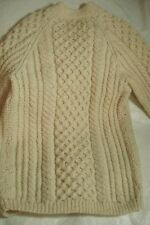 VINTAGE IRISH ARAN FISHERMANS WOOL SWEATER CARDIGAN S