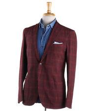NWT $1595 BOGLIOLI Raspberry Check Lightweight Wool-Linen Sport Coat 40 R
