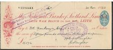 CHEQUE THE NATIONAL BANK OF SCOTLAND 1923 LEITH WALK BRANCH - red