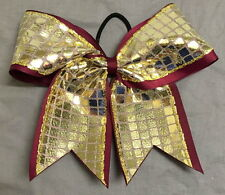 Maroon and Gold Disco Ribbon Bow - 3 inch wide ribbon