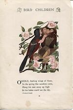 Elizabeth Gordon's Bird Children: Oriole. MT Ross 1912 lithograph print