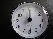 "2-3/4"" (70mm) QUARTZ CLOCK FIT-UP/Insert, Arabic Numeral, White Face,Silver Trim"
