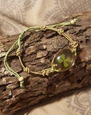 Natural Shamrock in Acrylic Adjustable Corded Bracelet